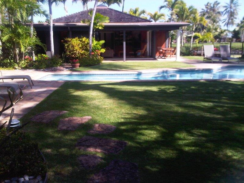 Kailua Palms Guest House pool, patio and yard with view of the lake.