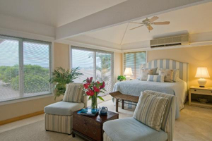 Large bedroom with beach view